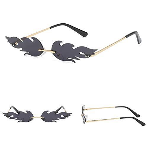 Kylewo Frauen Sonnenbrillen- Creative Flamme Form Sonnenbrille Damen Herren Metall Brillenfassungen, Mode Vintage Punk-Stil Sonnenbrille