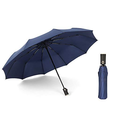 Oversized Paraplu Dubbele Winddicht, Mannen Zakelijke Reizen Vouwparaplu, Lichtgewicht Compact 10 Ribs Automatische Luifel, Auto Open Sluiten
