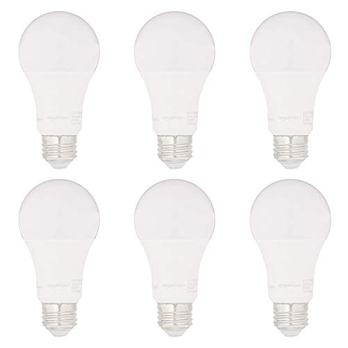 AmazonBasics 75W Equivalent, Soft White, Dimmable, 15,000 Hour Lifetime, CEC Compliant, A19 LED Light Bulbs | 6-Pack