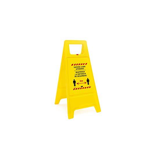 Normaluz CV30065 - Panel Plegable Espere su Turno, Mantenga la Distancia de Seguridad 2M Plástico 62 cm, Amarillo