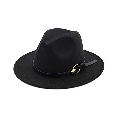 YKF-SYZ Elegante kap Soft Jazz hoed unisex metalen ring eenvoudige riem plat grote wilde jazz hoed wollen muts 55-58Cm11X7Cm, zwart