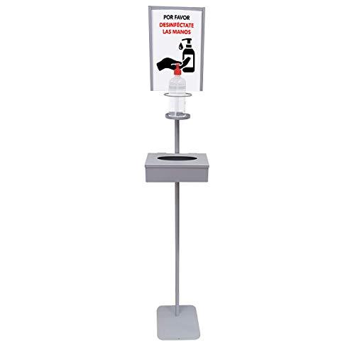 Dispensador de Pie para Gel Hidroalcohólico Desinfectante de Manos para Comercios y Oficinas. Incluye Cartela A4 y Caja Cerrada para Caja Guantes. Dispensador de Gel Fabricado en España