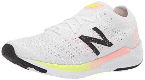 New Balance Women's 890v7 Running Shoe, White/Guava GLO/Bleached Lime GLO, 8.5 B US