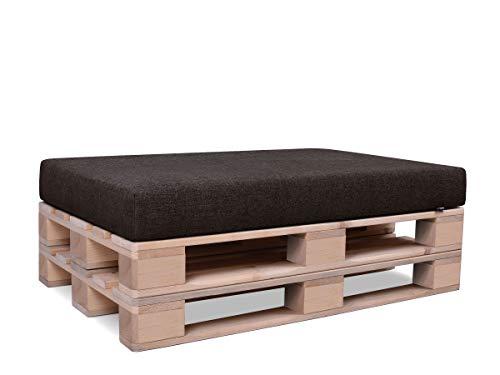Mypado, set di cuscini per pallet europei, per interni ed esterni, Tessuto, Tappetino in schiuma marrone, Sitz 120x80x12