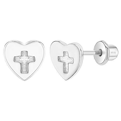In Season Jewelry Plata Fina 925 Pendientes de Cierre de Rosca en forma de Corazón con Cruz para niñas pequeñas y Pendientes de botón para niñas - Idea de regalo religioso para niñas