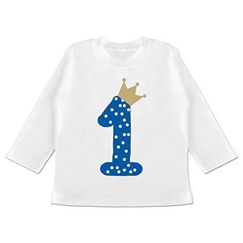 Geburtstag Baby - 1. Geburtstag Krone Junge Erster - 6/12 Monate - Weiß - BZ11 - Baby T-Shirt Langarm