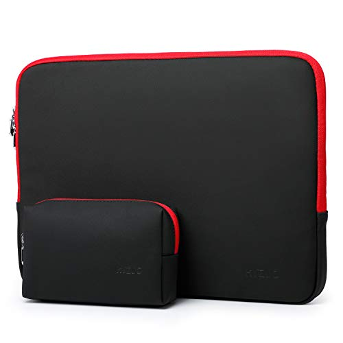 HYZUO 13 Inch Laptop Sleeve Case Bag Compatible with MacBook Air 13 2018-2020/ MacBook Pro 13 2016-2020/ iPad Pro 12.9 2020 2018/ Dell XPS 13/ Samsung Galaxy Book S/Surface Pro X 7 6 5 4, Black-Red