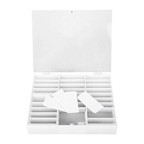 Pudełko ze strasu, puste przezroczyste zdobienie Nail Art z tworzywa sztucznego, witryna, organizer, pudełko do przechowywania paznokci, dekoracja, kontener, puste końcówki paznokci, pudełko do przechowywania sztucznych paznokci, witryna (białe)