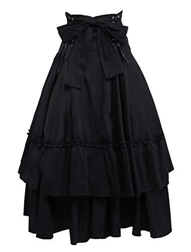 Antaina Negra Volantes Bowknot Retro Victoriana Gotica Punk Lolita Long Plisada Falda,M