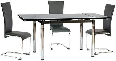 SIGNAL MEBLE Table Extensible 8 Personnes - Gd018-110-170 X 74 X 75 Cm - Noir
