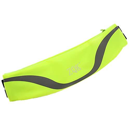 ZQK ランニングポーチ 極薄 超軽量 ウエストポーチ 防水 メンズ レディース ユニセックス イヤホン穴付き アウトドア、ジョギングに適しています (グリーン)