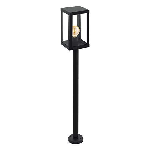 EGLO Außen-Stehlampe Alamonte 1, 1 flammige Außenleuchte, Stehleuchte aus Stahl verzinkt, Farbe: Schwarz, Glas: klar, Fassung: E27, IP44