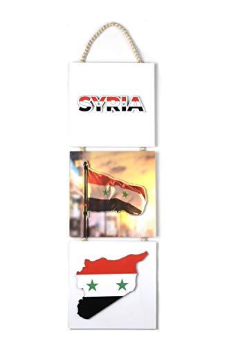 YSN Home Collection Wandbild Bild für Wohnzimmer Büro Wohnung Deko Kunstdrucke Syria Syrien Syrische Flagge (20x30 cm)