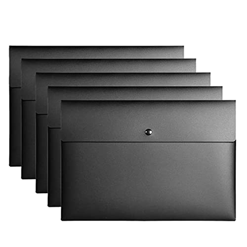 NX a4 ファイルフォルダー プラスチック封筒 書類ケースボタン留め 持ち運び 薄型 透明 重要書類 個別フォルダー 防水 ビジネス オフィス ブラック 5枚セット