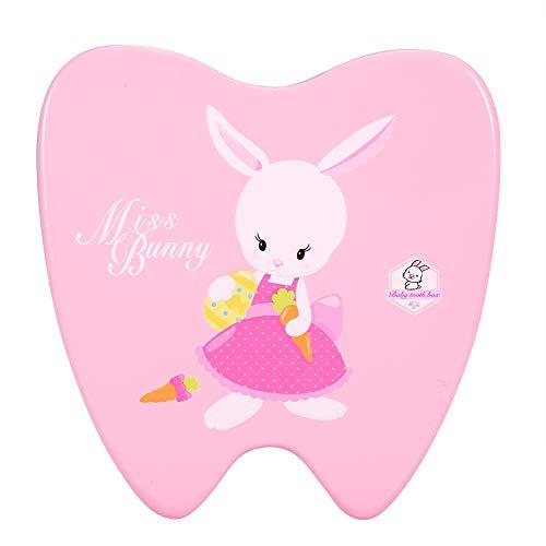 Caja para dientes de bebé, Caja de madera para Almacenamiento de Dientes, Organizador para guardar los dientes de bebé(Conejo rosa)