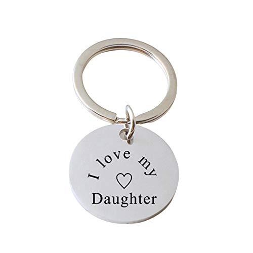 Beydodo Schlüsselanhänger Männer Edelstahl Dog Tag Gravur I Love My Daughter mit Anhänger Flügel Perle Schlüsselband Freundschaft Auto