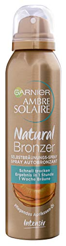 Garnier Ambre Solaire Selbstbräunungs-Spray, Selbstbräuner mit Aprikosenkernöl, Bräunungsbeschleuniger in Gold, 150 ml