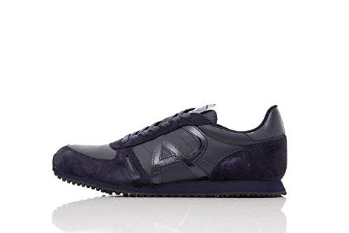 Armani Jeans Zapatillas de Hombre de Corte bajo (Azul Oscuro, Numeric_44)