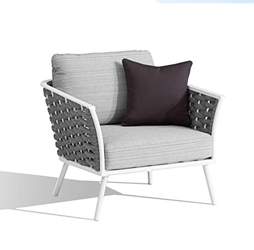 Meubletmoi - Sillón bajo de jardín moderno en aluminio blanco, trenzado gris y cojines de asiento y respaldos de poliéster 66 x 81 x 82 cm – Rise