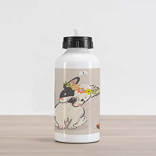 Lunarable Dog Aluminum Water Bottle, Hand Drawn French Bulldog with Wreath on Its Head Watercolor Domestic Pet Illustration, Aluminum Insulated Spill-Proof Travel Sports Water Bottle, Multicolor