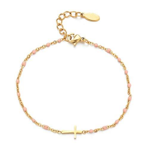Jesucristo Joyería de la pulsera de acero fina cadena estilo de la moda del cristiano de Jesús inoxidable encanto de la cruz de oro pulsera de las mujeres de las muchachas ( Metal Color : Pink )