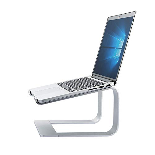 Lidada Aluminum Laptop Stand Riser,Desktop Notebook Tray with Ventilated Cooling Base,Portable Detachable Computer Holder Stand,for Home And Office,Silver