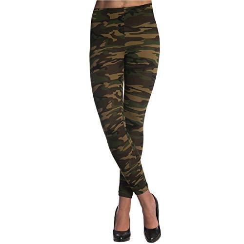 Stilvolle Militär Damen-Pants Stretchhose / Tarnfarben-Oliv L/XL (44 - 50) / Aufreizende Tarn-Leggins US Army / Genau richtig zu Karneval & Kostümfest