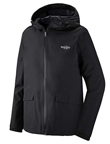 Wantdo Men's Breathable Rain Jacket Packable Spring Coat for Running Black M