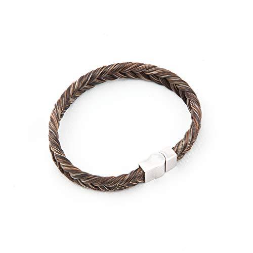 CrinTiff - Bracelet en Crin de Cheval Fait Main - Collection Groom - de 16 a 21 cm - Tressé Epi - Bracelet équestre - Couleurs Melange Marron