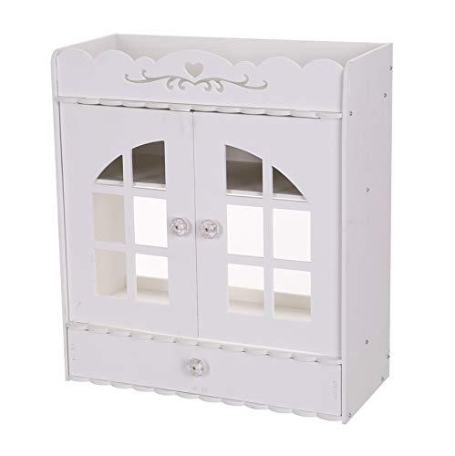 Bathroom Wash Shelf/Industrial Style Non-Perforated PVC Storage Cabinet Storage Rack Organizer with Drawers / 15.3' x 6.8' x 17.3' / White