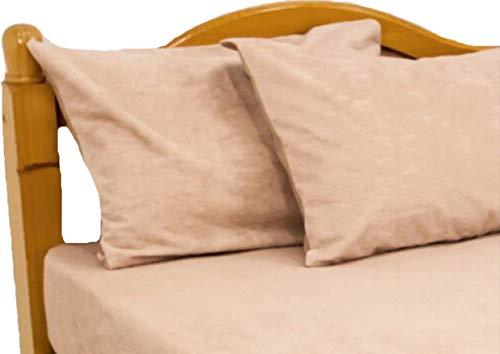 ロング綿パイルの防水ピロケース(製品サイズ43×86cm/43×63cmピロ—用/Mサイズ)モカ