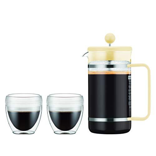 Bodum K1508-341-10-Y19 BISTRO Kaffeebereiter, 8 Tassen, 1.0 l mit 2 doppelwandigen 0.25 l PC Bechern, Glas