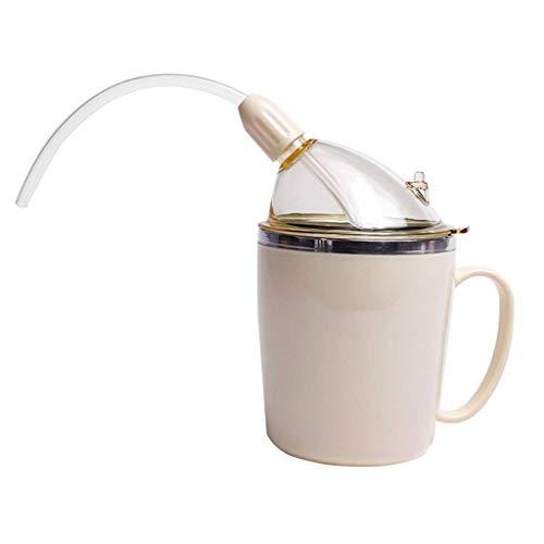 Tenlacum Schnabeltasse für Erwachsene, mit Strohhalm für Flüssigkeiten, Wasser für behinderte ältere Menschen mit schwachem Griff, auslaufsicher, Trinkhilfen