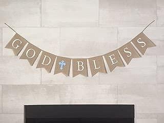 God Bless Burlap Boy Banner - Baptism - First Communion - Christening - Baby Shower - 5 Blue Latex Balloons