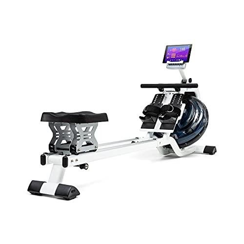 Capital Sports Flow M2 - Máquina de Remode Agua, Banco de Remo, 80 cm de Largo, Ordenador con Pantalla LCD, Soporte para tabletas, Aluminio y Acero, 6Niveles/máx. 14 litros, Blanco