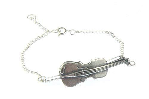 Miniblings Geige Violine Viola Bratsche Geiger Musik Armband silb. - Modeschmuck Handmade - Damen Mädchen Bettelarmband