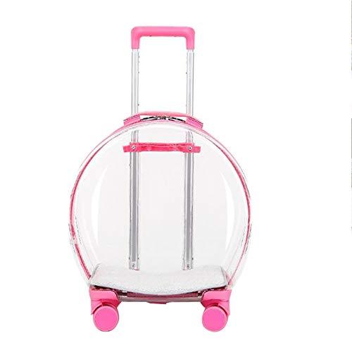 YYDMBH Mochila Transportin Perro Portátil Pets Carrier Backpack Trolley Case Dog Cat Bag Bubble Box Travel (Color : Pink)