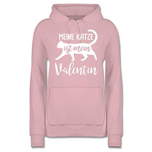 Valentinstag - Meine Katze ist Mein Valentin - L - Hellrosa - Katze - JH001F - Damen Hoodie und Kapuzenpullover für Frauen