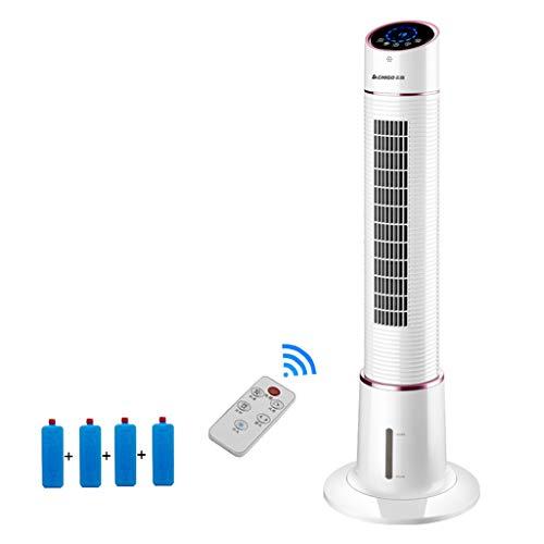 Mobile Air Conditioners Ventilador de Torre giratoria, Ventilador de Escritorio eléctrico portátil, Ventilador de enfriamiento Personal silencioso, Blanco con 4 Cristales de Hielo Originales