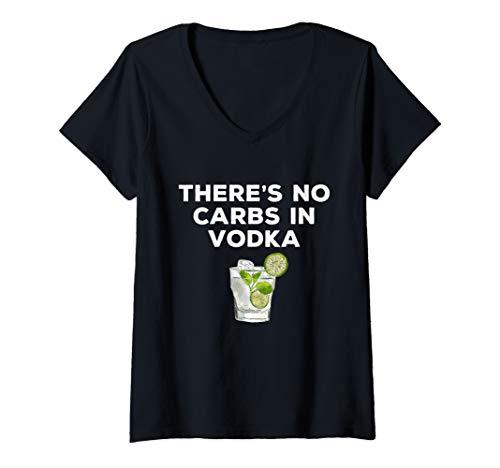 Damen Wodka-Trinker - Es gibt keine Kohlenhydrate in Wodka - Keto T-Shirt mit V-Ausschnitt