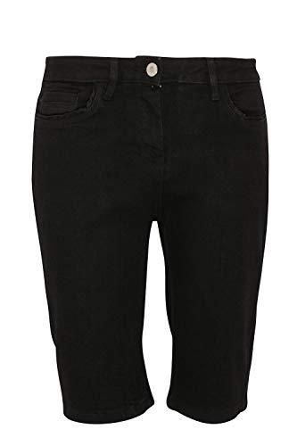 Ex High Street Pantaloncini da Donna Elasticizzati - con Tasche - in Cotone Stile Denim - Nero - EU 36