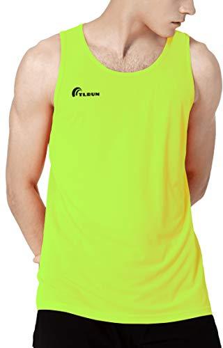 TLRUN Men's Running Tank Top Ultra Lightweight Marathon Singlet Shirts Dry Fit Yoga Workout Sleeveless T-Shirts(Medium Yellow)