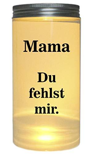 WB wohn trends LED-Licht Mama Du fehlst Mir. Trauer-Licht, 14x7cm Dose mit Deckel Leuchte LED-Lampe mit Text Spruch