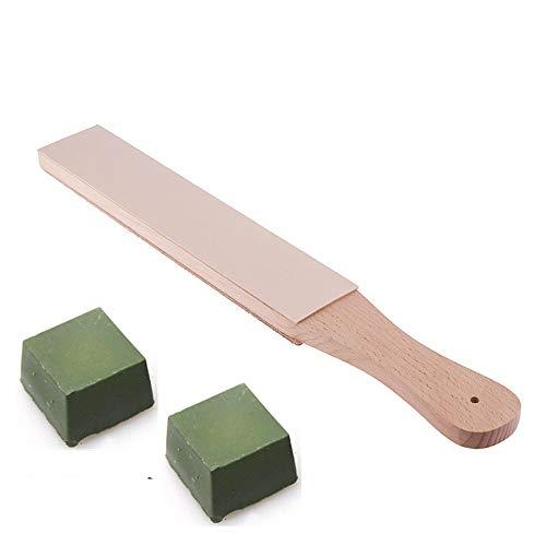 Leder-Schärfwerkzeug für Streichriemen Doppelseitig Mit Poliermittel für Rasiermesser Messer Leder