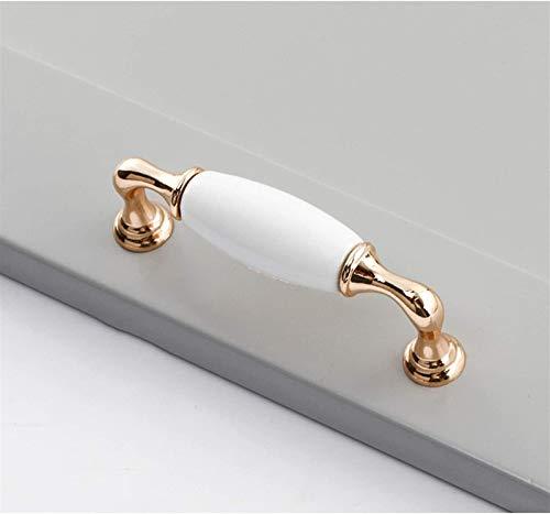 RTUTUR Manijas de cerámica Blancas Tirar 4 unids Golden Zinc Aleación de la aleación de la manija de la manija de la Perilla Gabinete Maneja Pulls de la Cocina (96 / 128mm Centro de Agujero) (Tamaño: