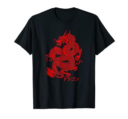Japanese Aesthetic Red Dragon Symbol Kanji Japan Tattoo Art T-Shirt