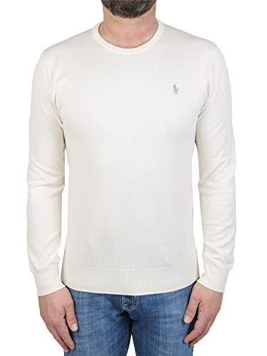 Polo Ralph Lauren Mod. 710744679 Suéter Cuello Redondo Algodón Pima Slim Fit Hombre Blanco M
