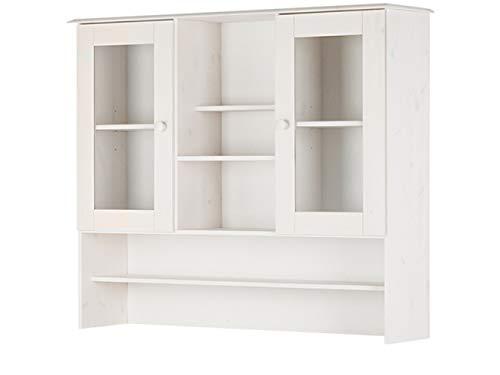 Loft 24 A/S Buffetaufsatz Aufsatz mit 2 Türen Vitrine Vitrinenschrank Glasvitrine Wohnzimmer Schrank viel Stauraum (weiß)
