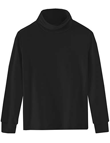 Spring&Gege Spring&Gege Mädchen Solid Rollkragenpullover Baumwolle Langarm Shirt Kinder Base Layer Basic Tops Schwarz 140 146