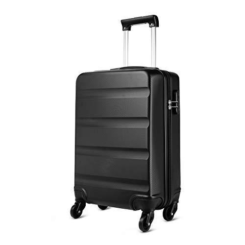 Kono Valise Cabine Taille 55cm ABS Bagage de Voyage Légère et résistante Main Valise Rigide à 4 roulettes, Noir